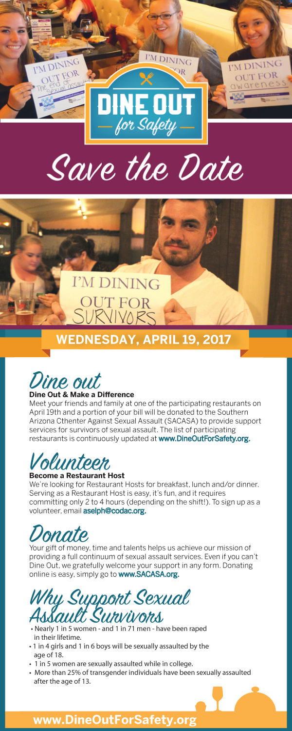 Save the Date for Dine Out for Safety happening on April 19, 2017.